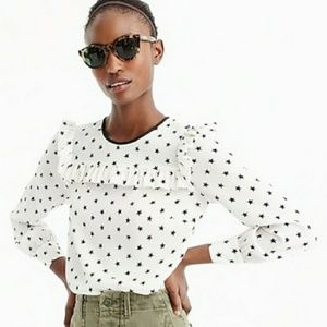 J Crew Ruffle Silk Top Star Print White Blouse